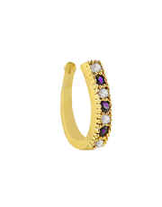 Gold Finish Purple Colour Diamond Nose Ring