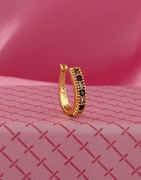 Black Colour Gold Finish Diamond Press Ring