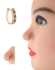 Rose Gold Finish Black Colour Nose Ring