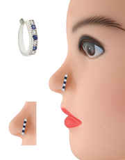 Silver Finish Blue Colour Pressing Nose Stud