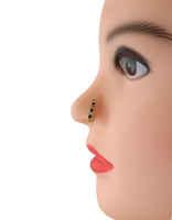 Blue Colour Gold Finish Pressing Nose Stud