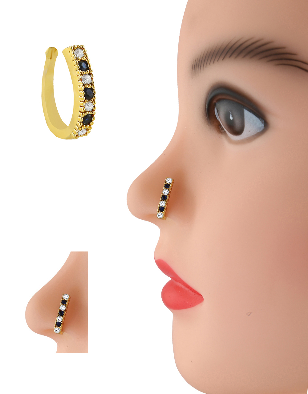 Blue Colour Gold Finish Pressing Nose Stud