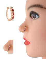 Pink Colour Rose Gold Finish Press Nose Stud