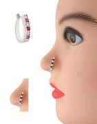 Silver Finish Pink Colour Diamond Nose Stud