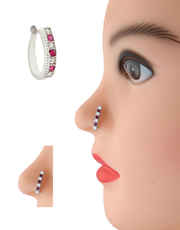 Silver Finish Pink Colour Diamond Nose Stud
