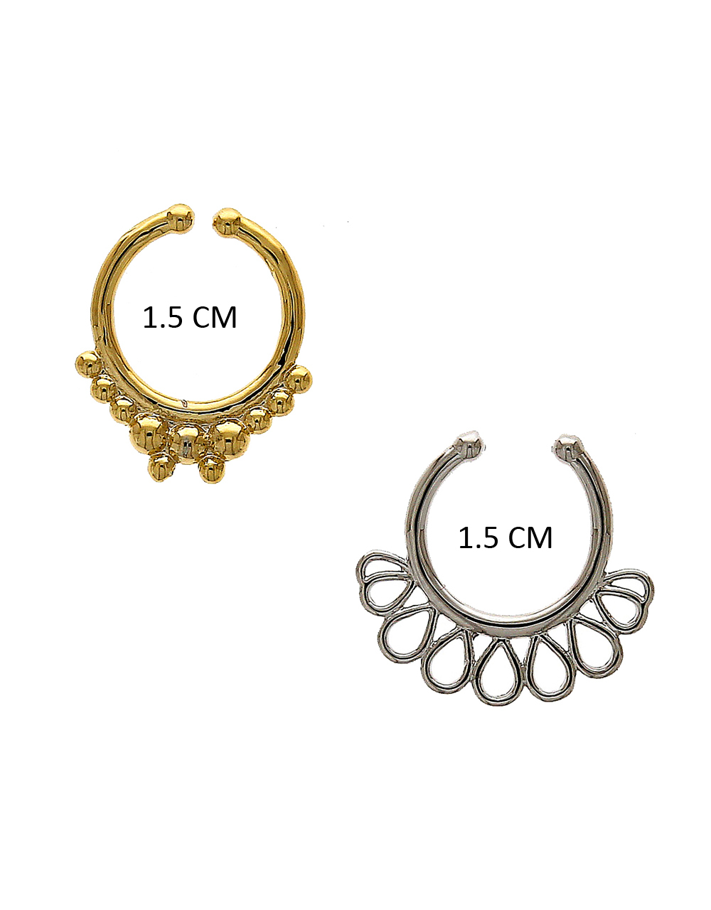 Floral Design Gold-Silver Combination Nose Stud