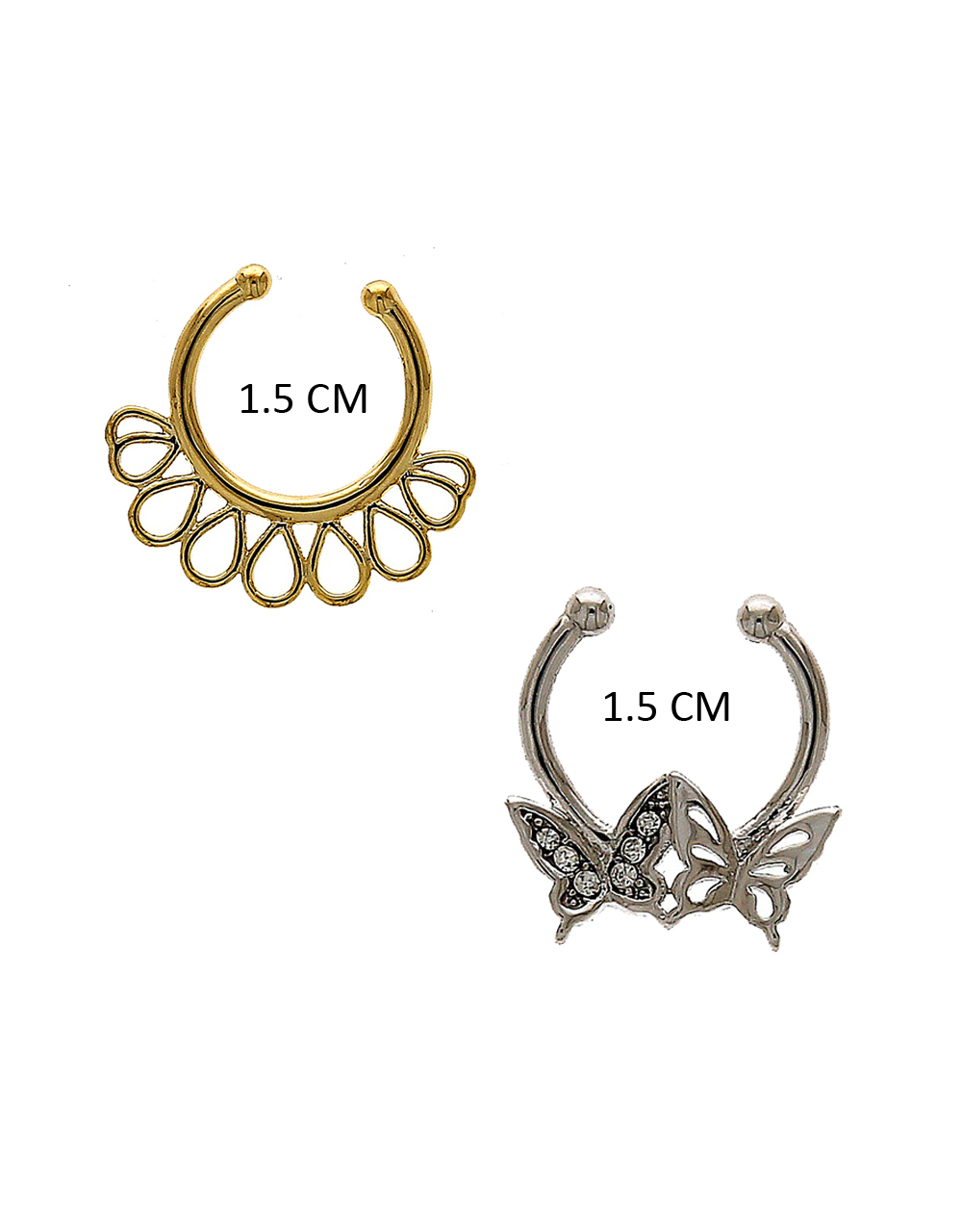 Floral Design Fancy Silver-Gold Finish Nose Septum Ring