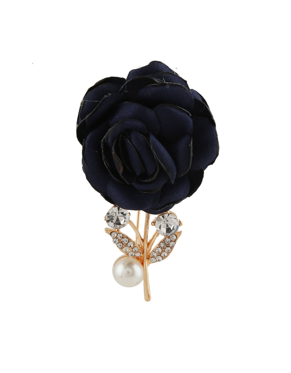 Navy-Blue Colour Gold Finish Brooch For Party Wear