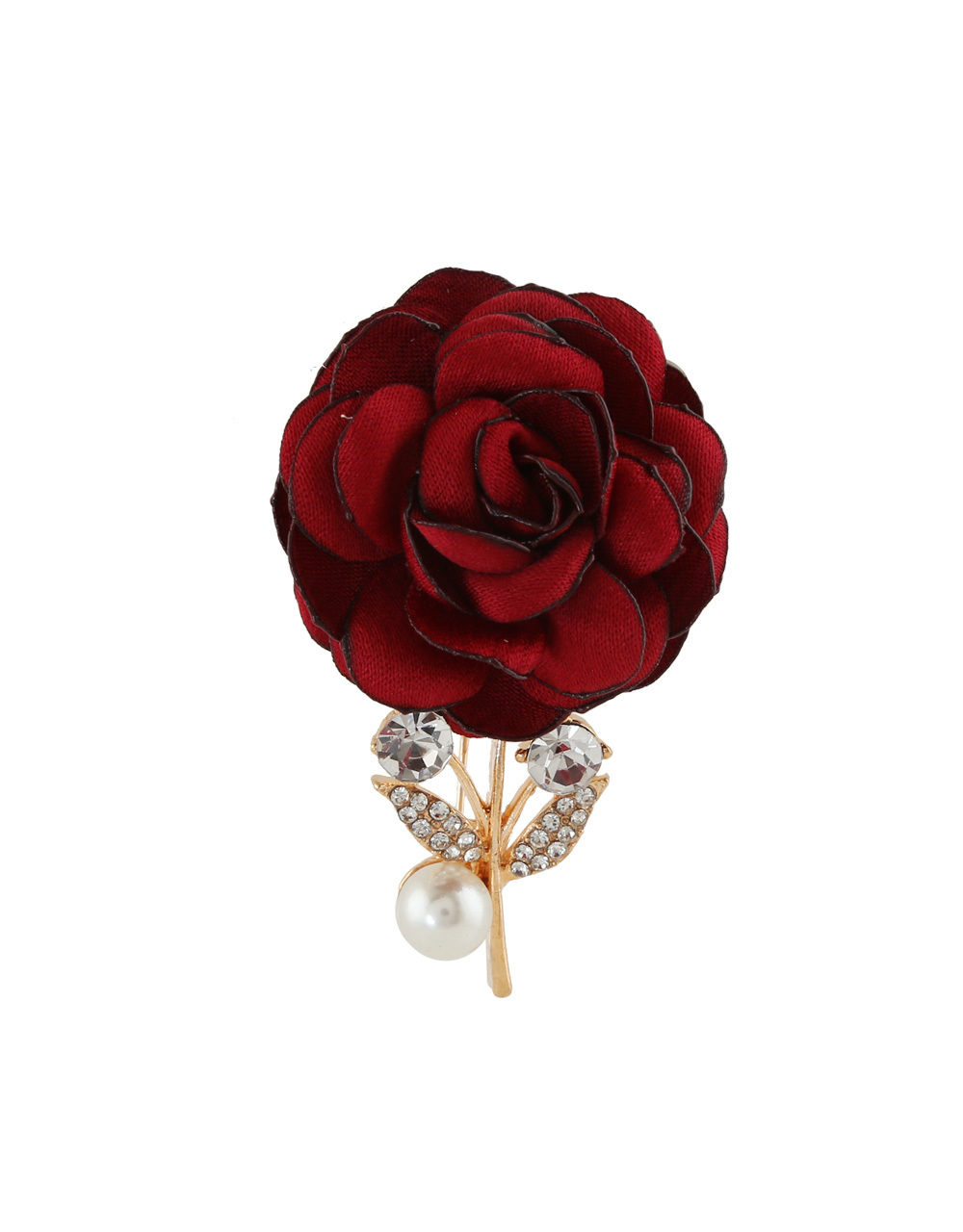 Fashionable Red Colour Gold Finish Brooch
