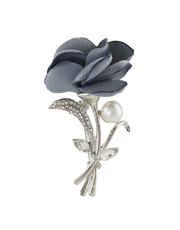 Grey Colour Floral Design Brooch Pin