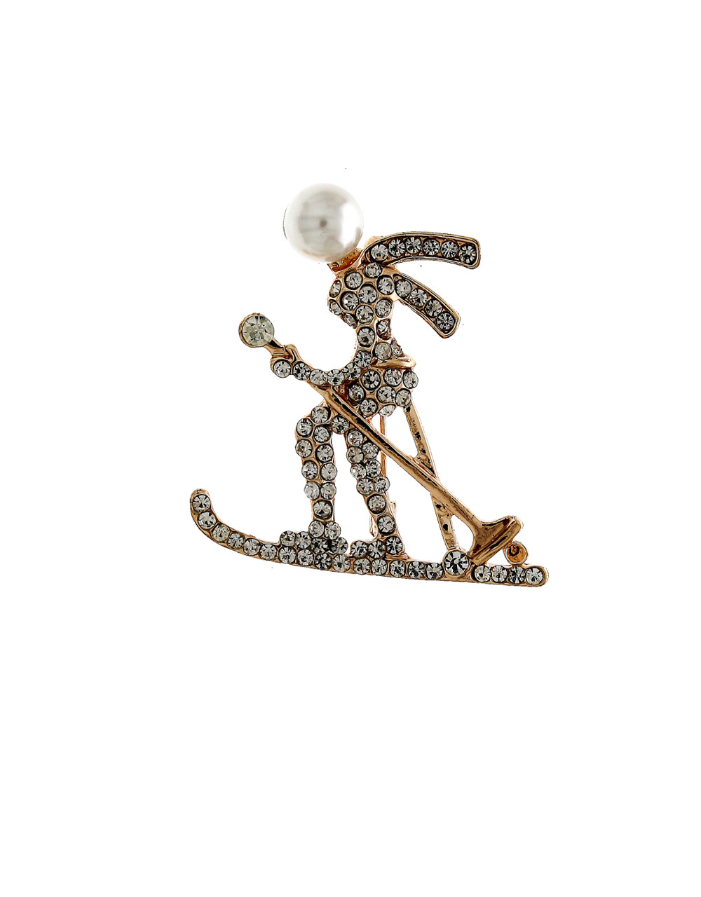 Gold Finish Brooch Styled With Pearls Brooch