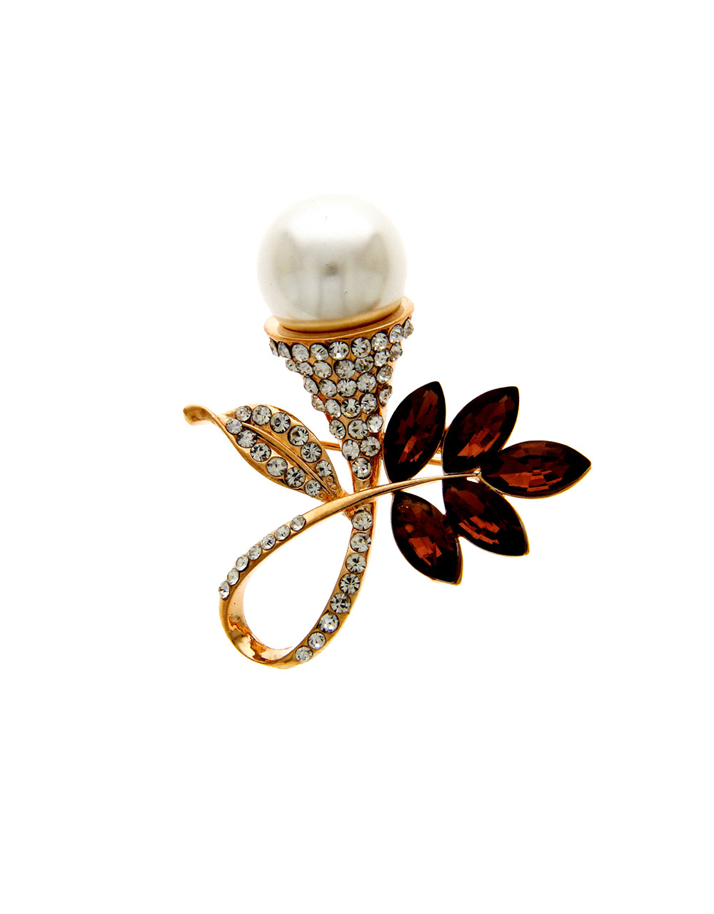 Gold Finish Brown Colour Fancy Brooch