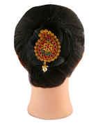 Red-Green Matte Gold Finish Hair Brooch Pin