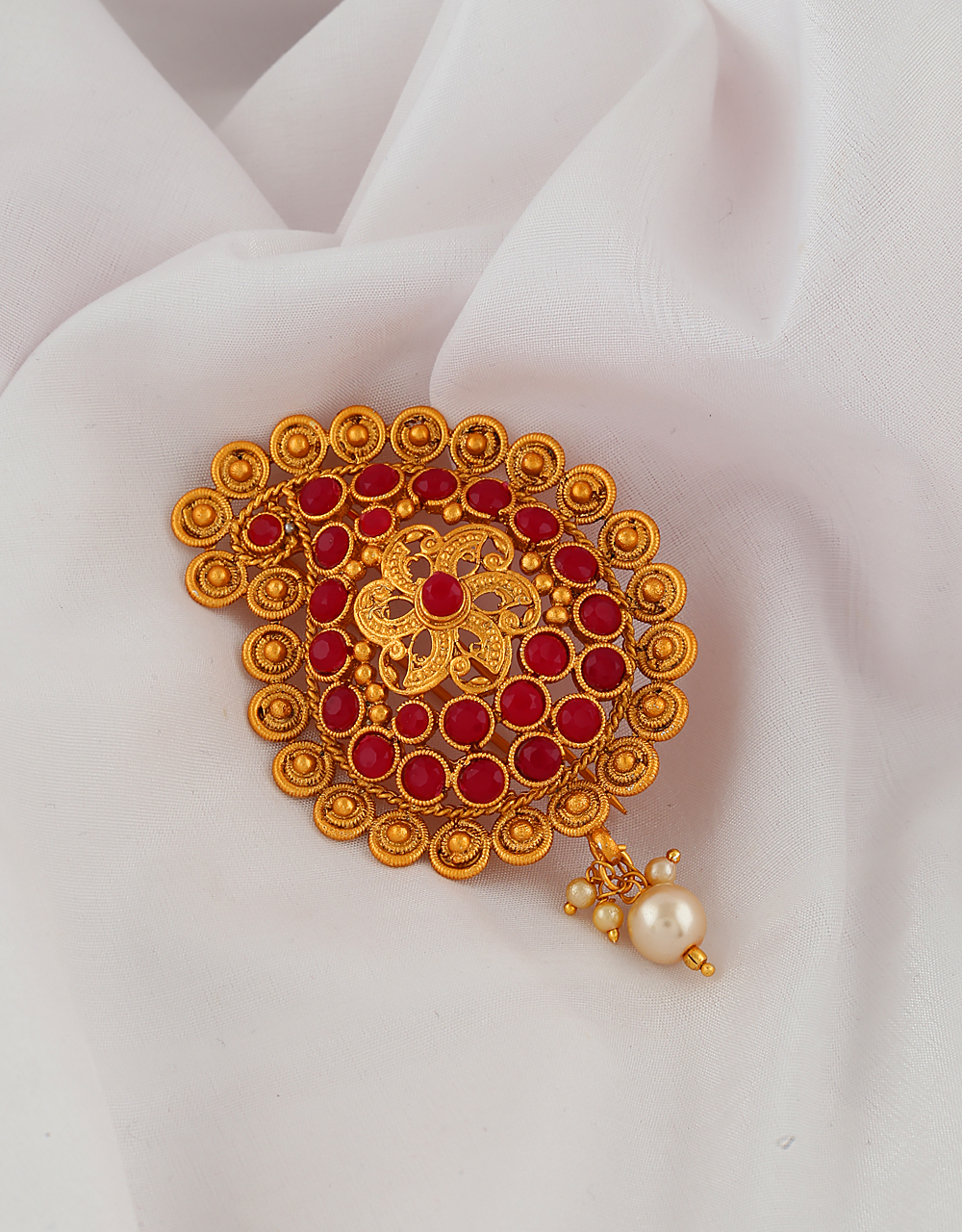 Red Colour Gold Finish Hair Pin Brooch