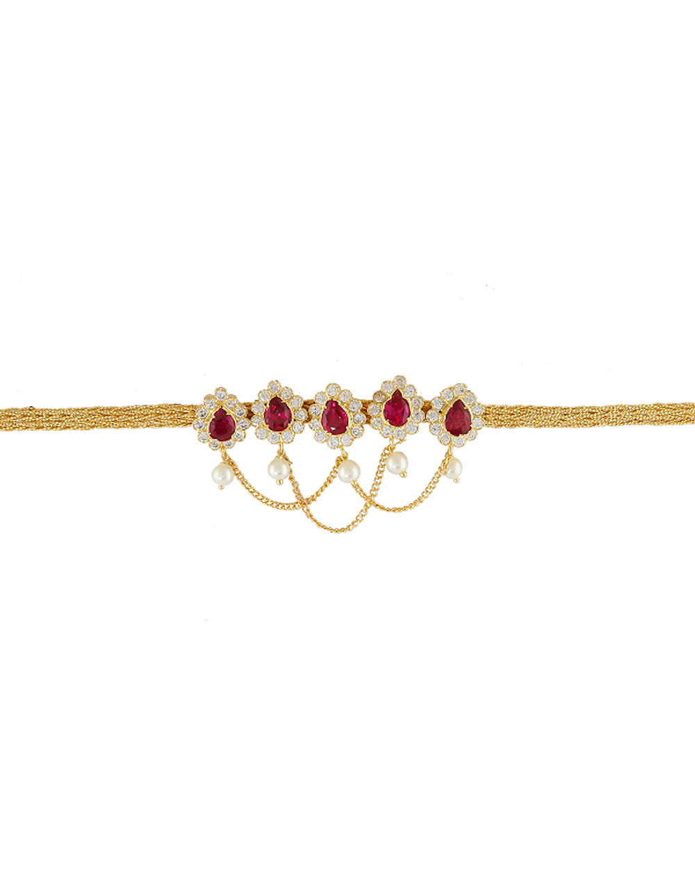 Pink Colour Gold Finish Bajuband Studded With Stones Fancy Armlet