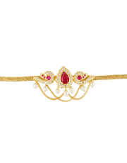 Gold Finish Pink Colour Bajuband Traditional For Women