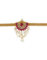 Pink Colour Gold Finish Traditional Bajuband For Girls