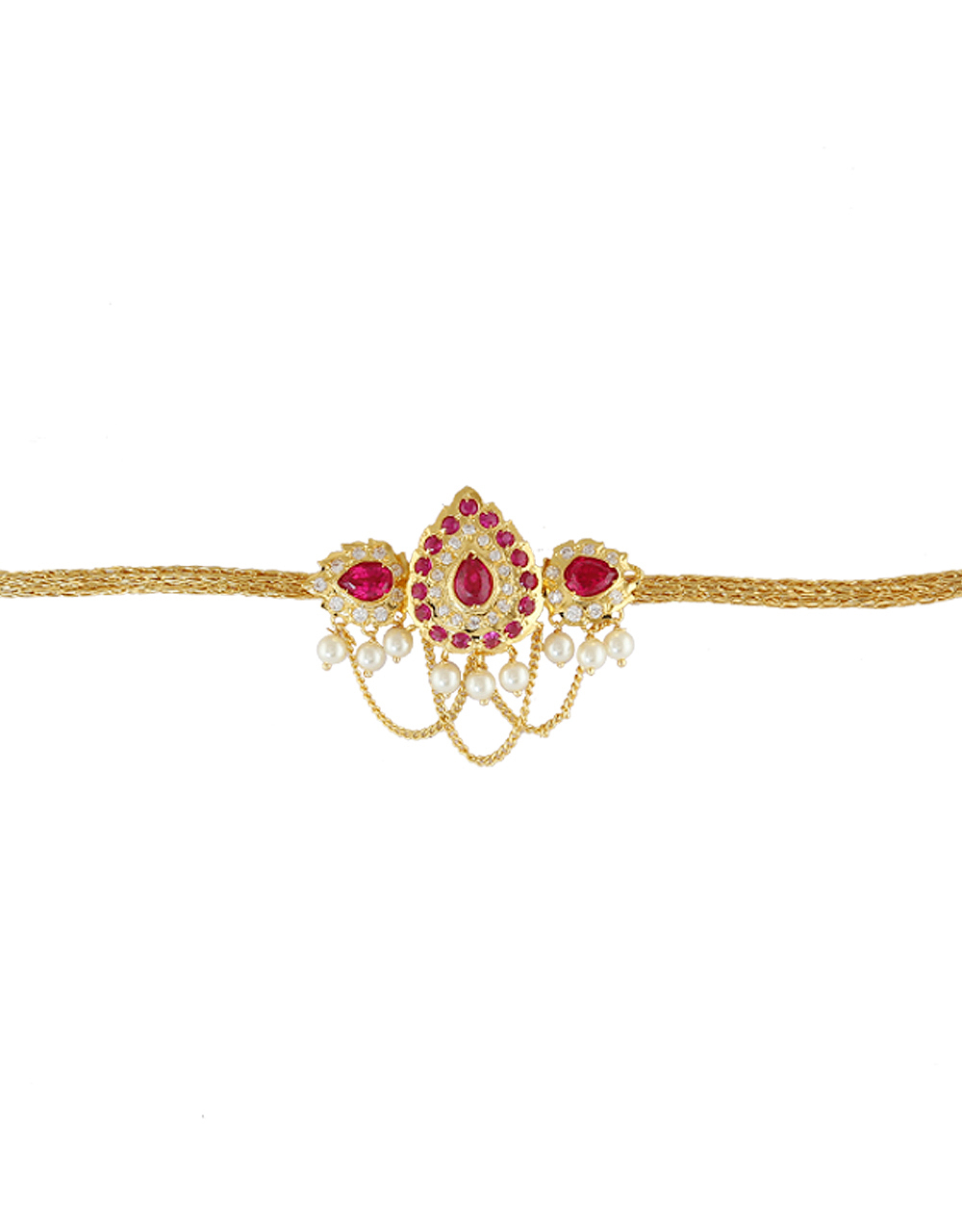 Pink Colour Gold Finish Moti Styled Bajuband For Girls