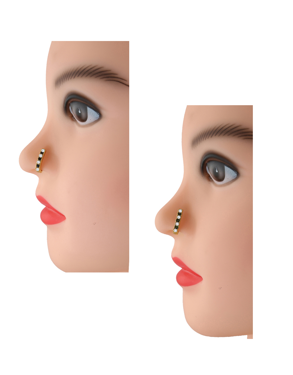 Blue-Green Combiaation Nose Stud Designs For Girls