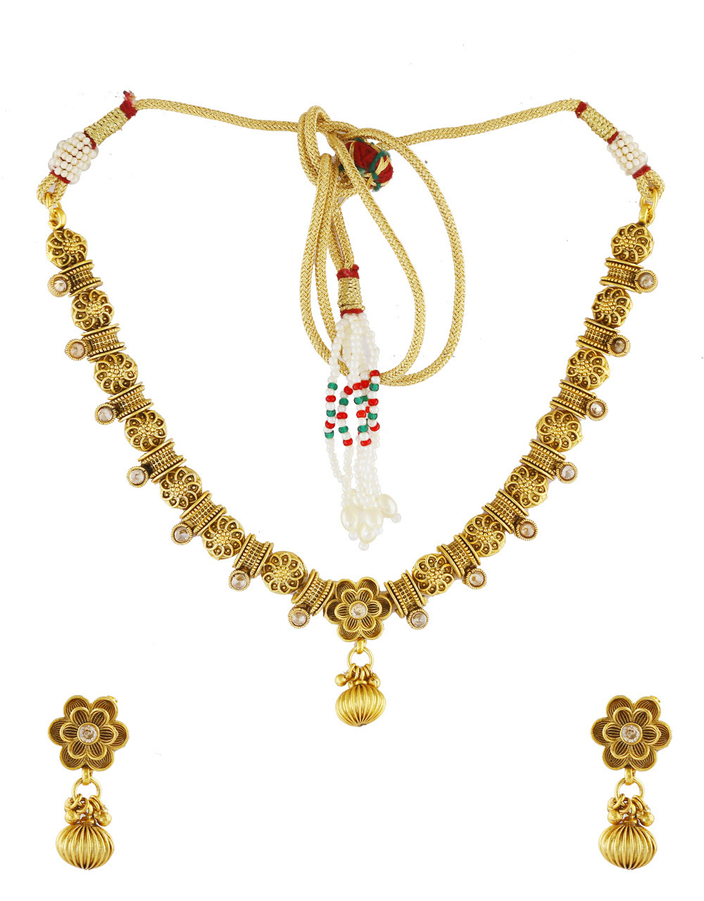 Floral Design Gold Finish Simple Necklace Jewellery