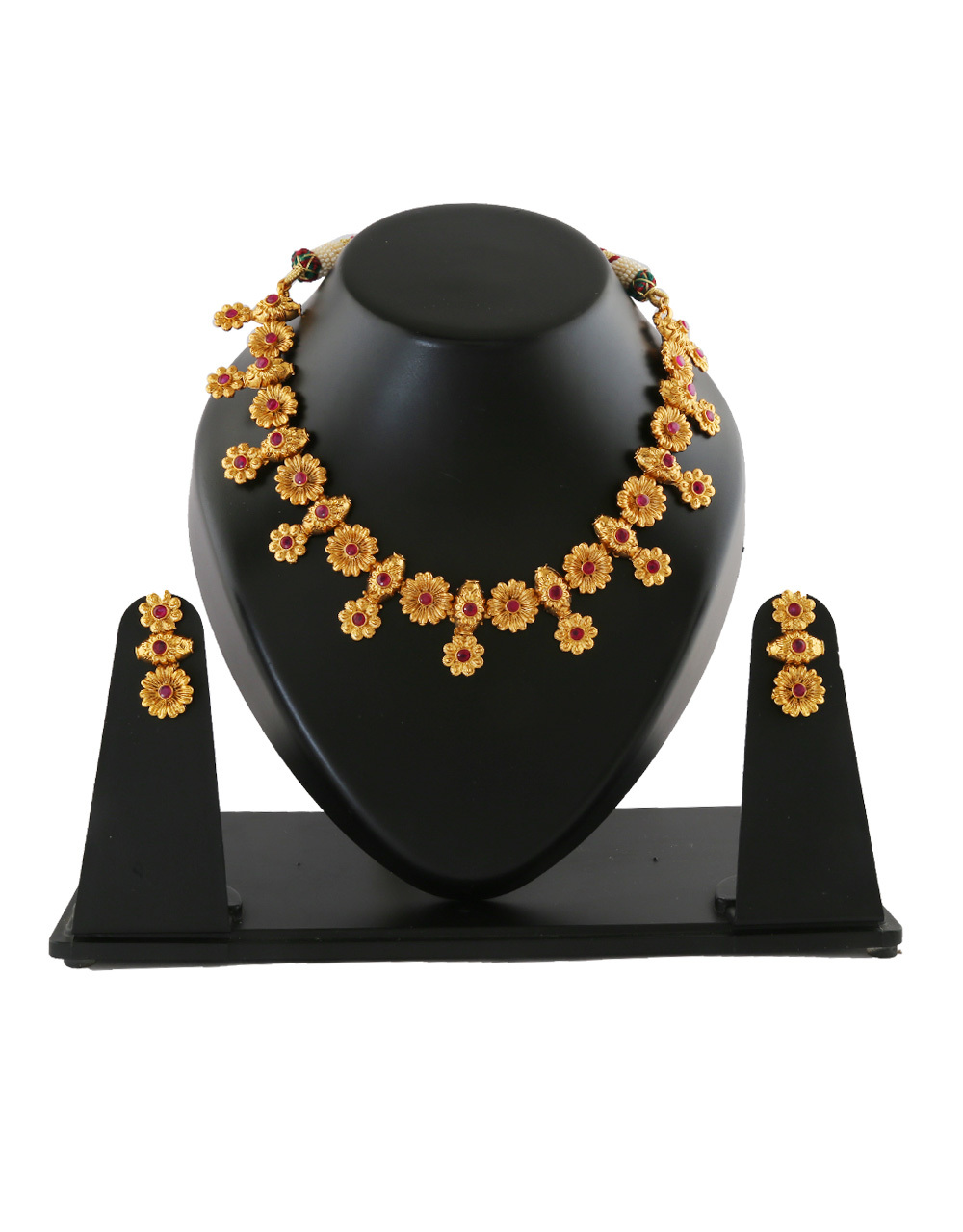 Pink Colour Matte Gold Finish Fancy Necklace For Wedding