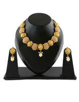 Temple Design Gold Finish Moti Necklace Jewellery