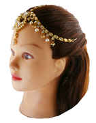 Gold Fininish Forehead Jewellery Studded With Stones Matha Patti