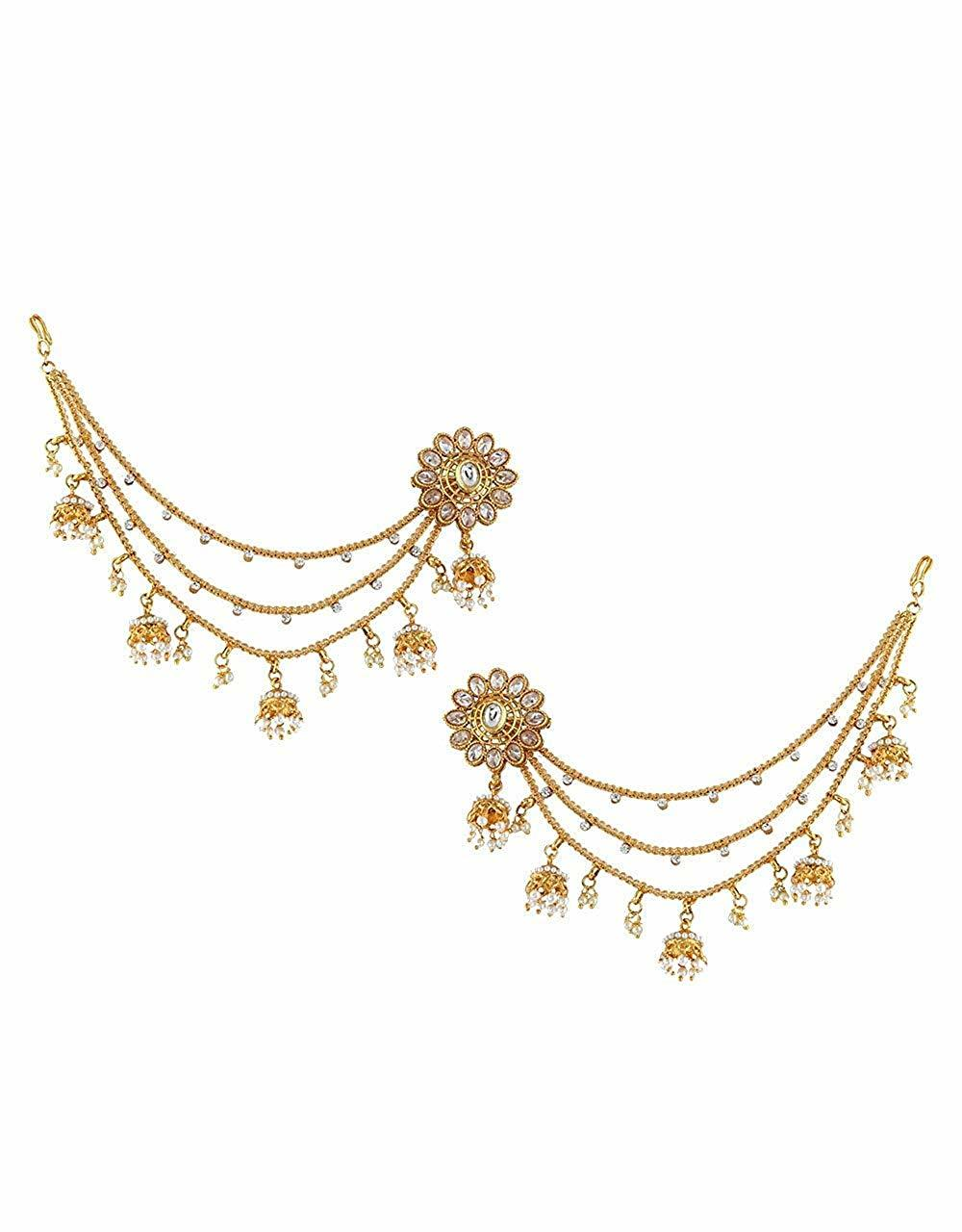 Floral Design Gold Finish Ear Tops With Ear Chain