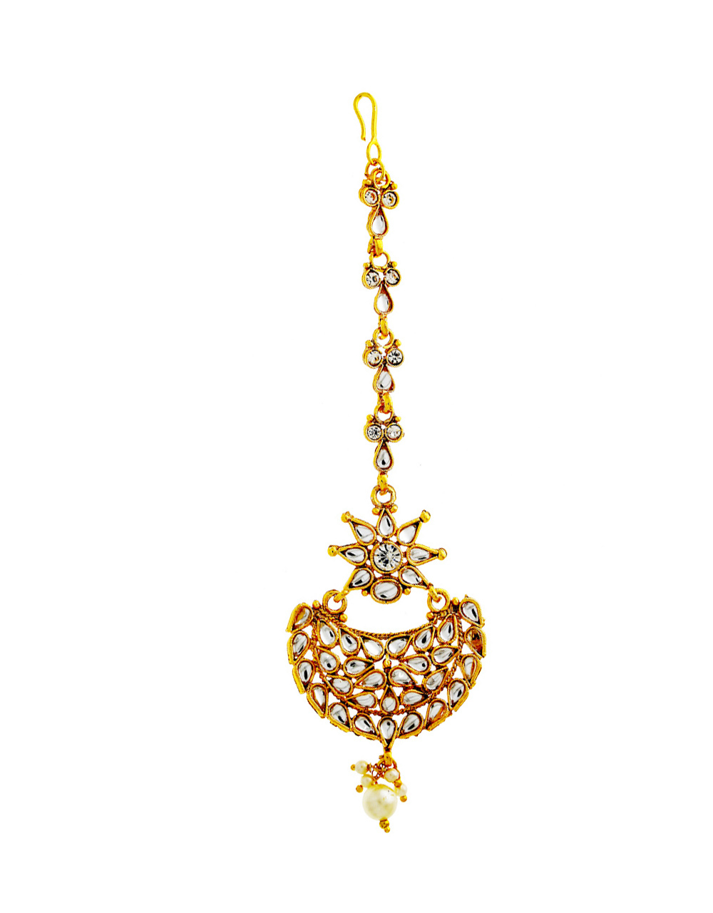 Traditional Gold Finish Mang Tika Studded With Stones Fancy Tikka