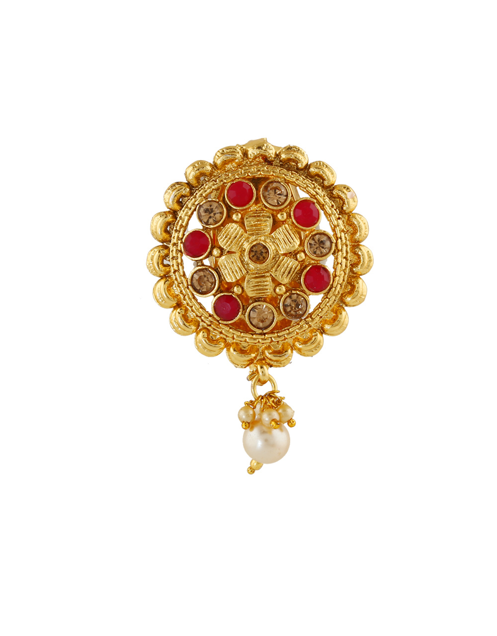Red Colour Gold Finish Fancy Saree Pin