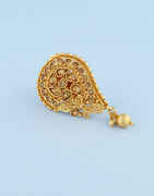 Antique Gold Finish Traditional Sari Pin Studded With Stones Pin Fancy