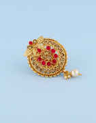 Red Colour Gold Finish Pin Sudded With Stones Saree Brooch