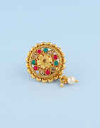 Multi Colour Gold Finish Saree Pin