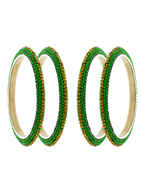 Green Colour Designer Four Bangles Set