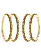 Gold Finish Designer Bangles For Women Fancy