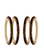 Maroon Colour Silver Finish Bangles For Fancy Wear