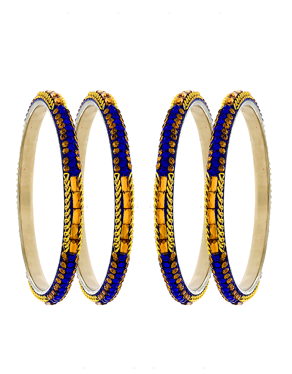 Blue Colour Silver Finish Bangles For Girls
