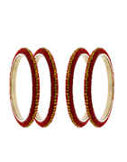 Red Colour Silver Finish Bangles For Girls