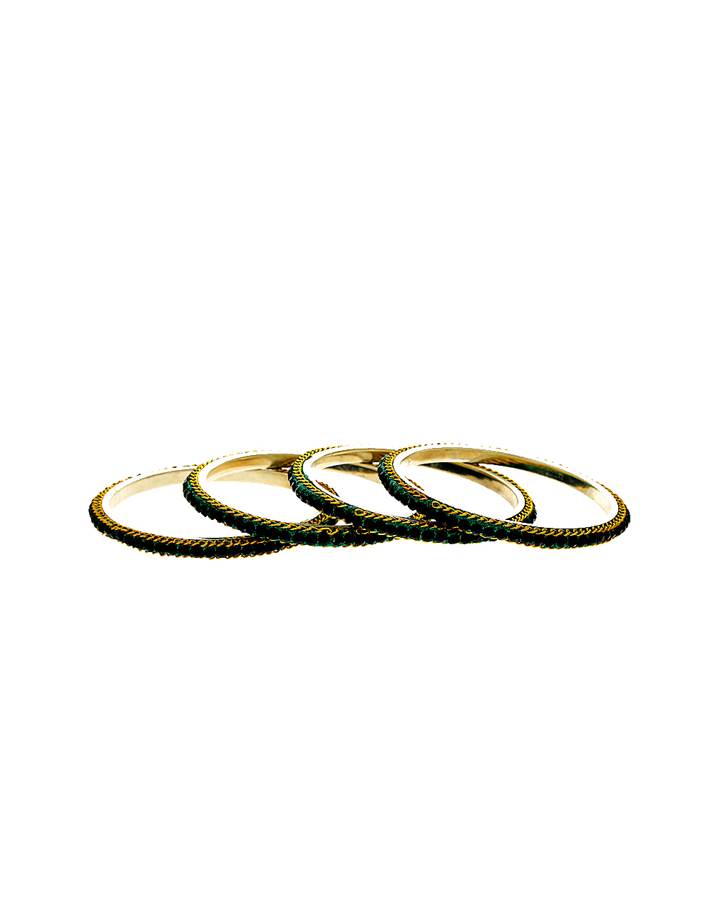 Green Colour Silver Finish Ethnic Bangles