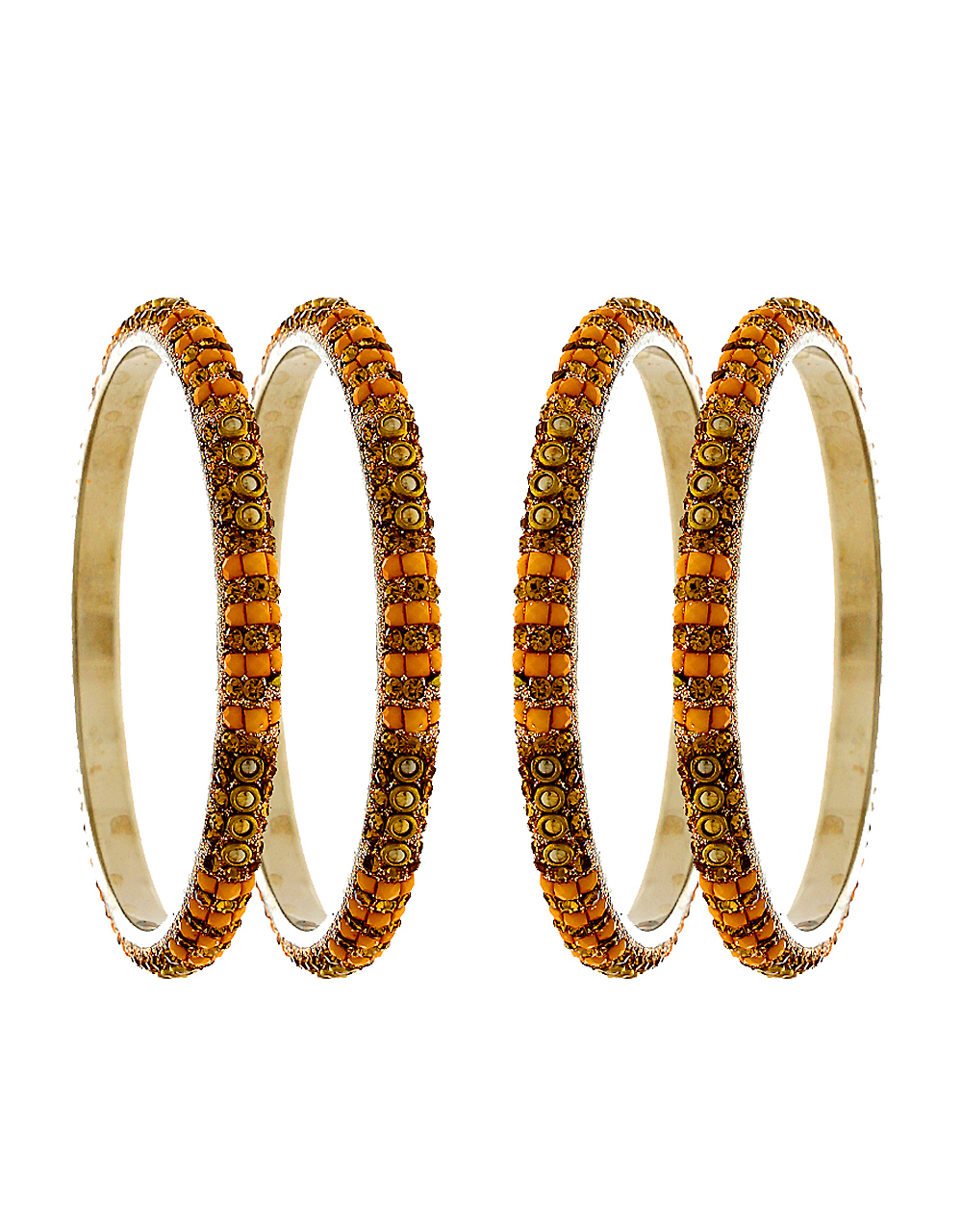 Orange Colour Silver Finish Fancy Ethnic Bangles