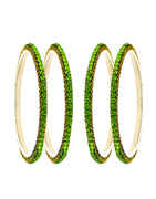 Green Colour Silver Finish Fancy Ethnic Bangles