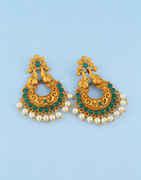 Green Colour Gold Finish Chandbali Earrings For Girls