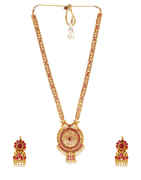 Pink Colour Matte Golden Finish Rajasthani Jewellery Necklace