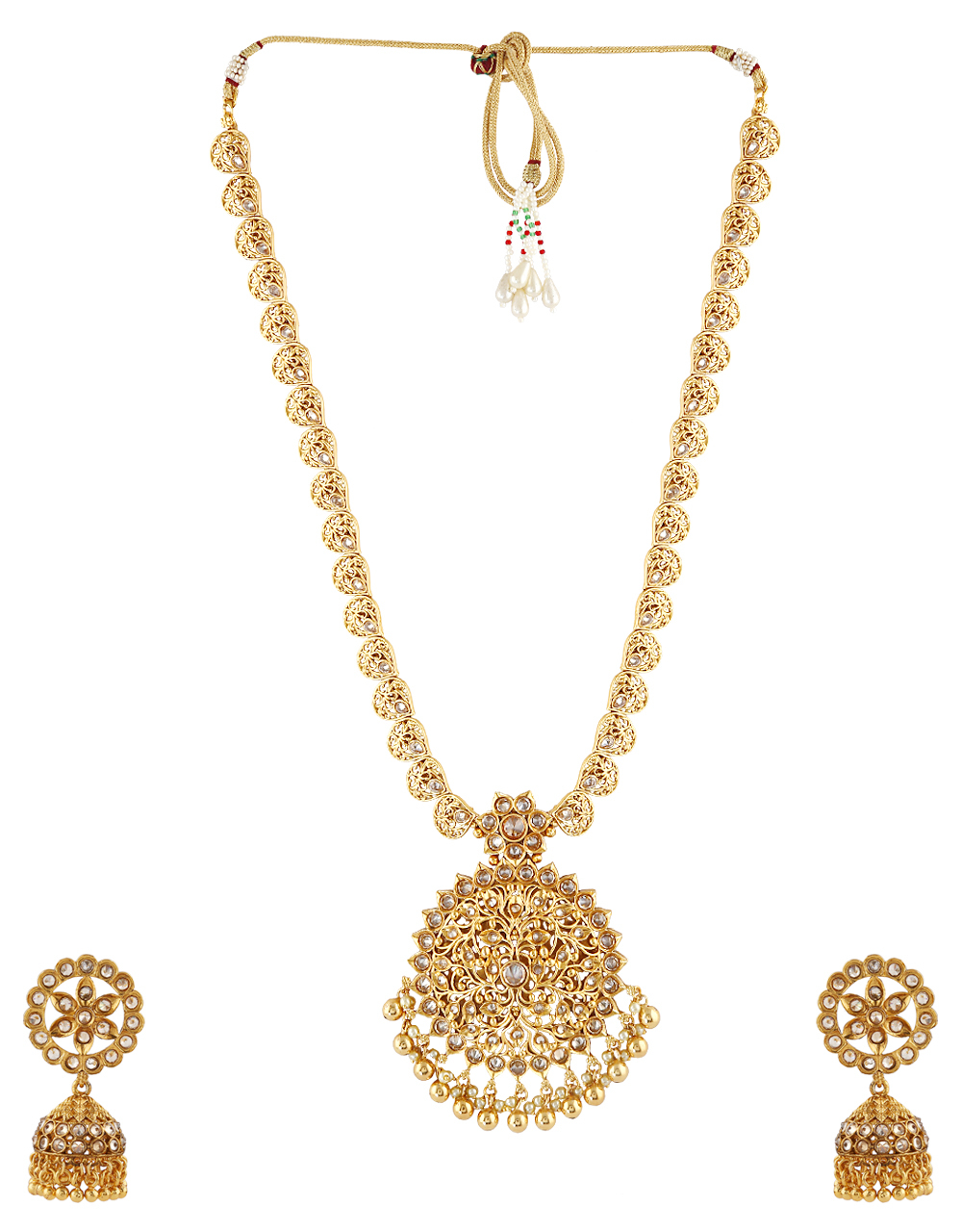 Fancy Gold Tone Necklace Studded With Stones Fancy Long Necklace
