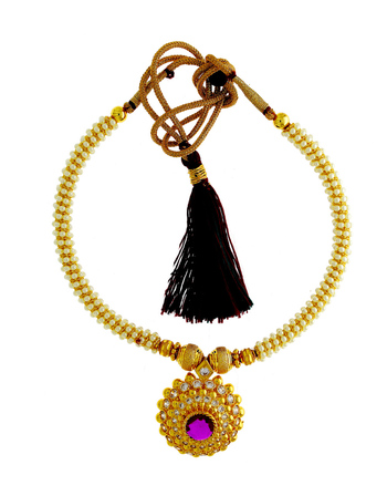 Pink Colour Gold Finish Moti Jewellery Necklace