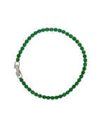 Green Colour Silver Finish American Diamond Adjustable Bracelets