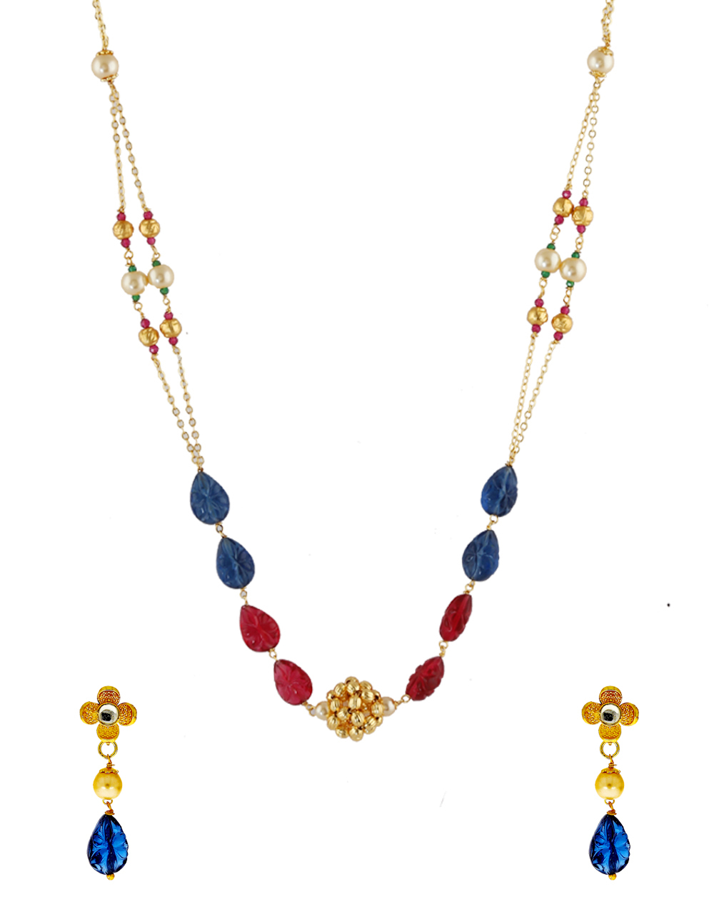 Red-Blue Colour Gold Finish Mangalsutra Necklace Jewellery