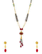 Red Colour Gold Finish Floral Design Mangalsutra