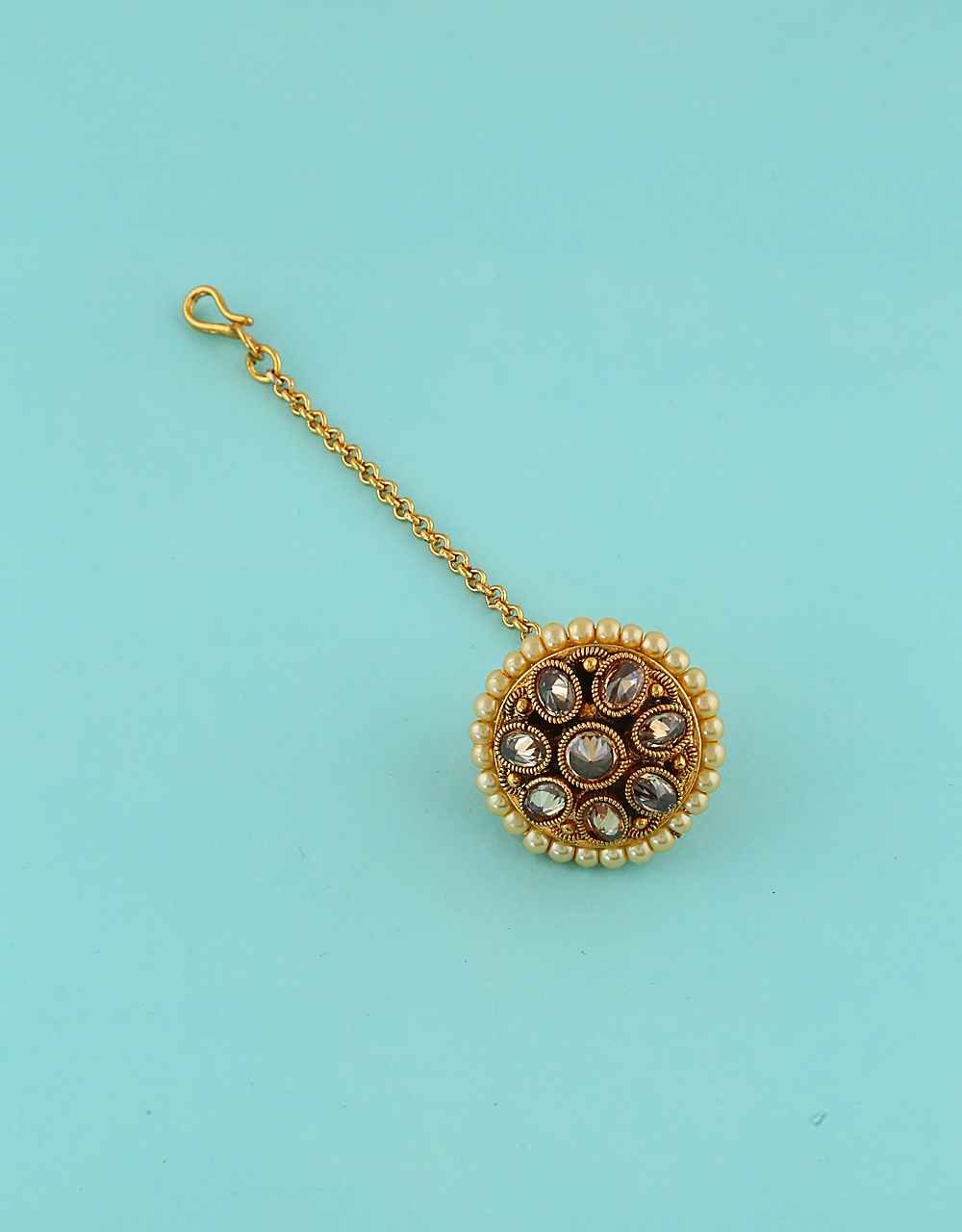 Simple Gold Finish Pearls Styled Tikka