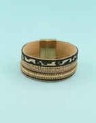 Gold Finish Designer Leather Bracelets